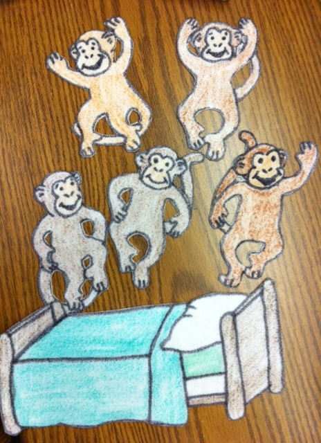 5 little monkeys jumping on the bed pattern - Coloring Pages Monkeys Jumping Bed