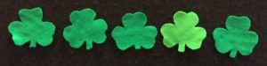 5 Green Shamrocks Flannelboard