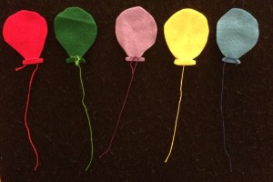 Five balloons in the sky