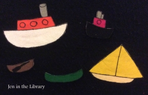 5 little Boats flannelboard name